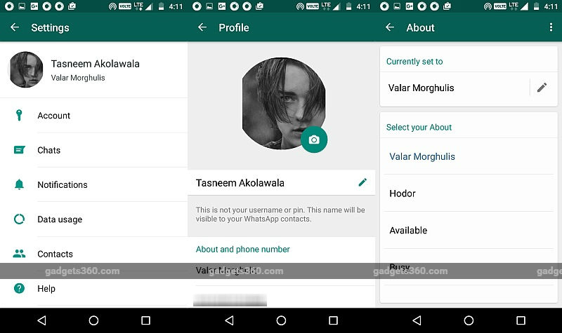 WhatsApp Text Status Feature Makes a Return With 'About' Description