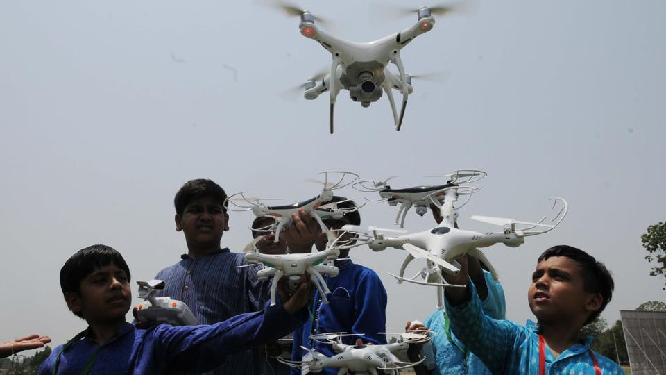 Eyes set on sky, children display drone-flying skills in Lucknow